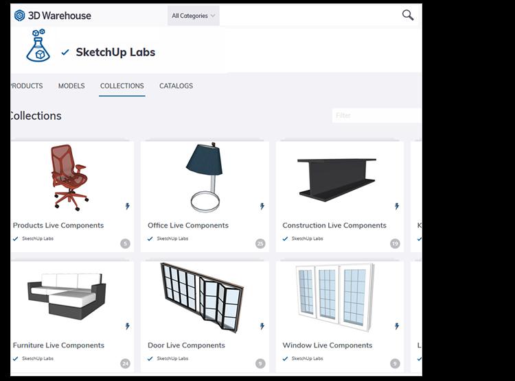 Voorbeeld Live Components in SketchUp 2021 Labs in 3D Warehouse